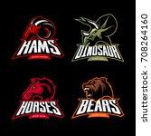 furious dinosaur  ram  horse... | Shutterstock .eps vector #708264160