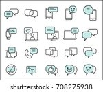 set of message related. simple... | Shutterstock .eps vector #708275938