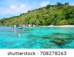 the little boat on blue sea at... | Shutterstock . vector #708278263