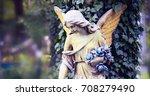 vintage image of a sad angel... | Shutterstock . vector #708279490