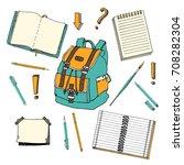 hand drawn doodle set of school ... | Shutterstock .eps vector #708282304