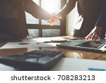business partnership meeting... | Shutterstock . vector #708283213