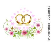 two wedding ring with hearts... | Shutterstock .eps vector #70828567