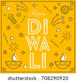 happy diwali  greeting card in... | Shutterstock .eps vector #708290920