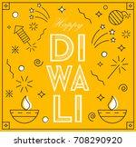 happy diwali  greeting card in... | Shutterstock .eps vector #708290920