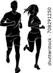 couple jogging silhouette | Shutterstock .eps vector #708291250