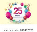 25th years anniversary... | Shutterstock .eps vector #708302893