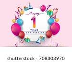 1st year anniversary... | Shutterstock .eps vector #708303970