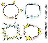 retro comic bubbles and... | Shutterstock .eps vector #708304303