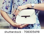 close up photo of white leather ... | Shutterstock . vector #708305698
