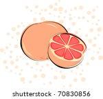 a grapefruit on a polka dot... | Shutterstock .eps vector #70830856