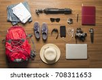 overhead view of traveler's... | Shutterstock . vector #708311653
