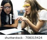 school girl friends learning... | Shutterstock . vector #708315424