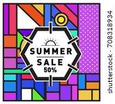 summer sale memphis style web... | Shutterstock .eps vector #708318934