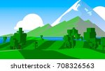 cartoon landscape. rural area.... | Shutterstock . vector #708326563