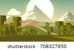 cartoon landscape. rural area.... | Shutterstock . vector #708327850