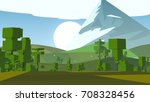 cartoon landscape. rural area.... | Shutterstock . vector #708328456