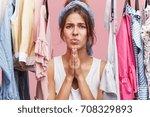 pretty woman keeping hands...   Shutterstock . vector #708329893