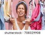 stressed unhappy young european ...   Shutterstock . vector #708329908