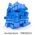 Dark blue cubes 3D. Isolated - stock photo