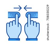 two hand pinch vector line icon ... | Shutterstock .eps vector #708330229