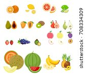 set of fresh healthy fruits and ... | Shutterstock .eps vector #708334309