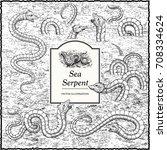 sea serpent illustration in the ...   Shutterstock .eps vector #708334624
