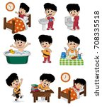 set of daily cute boy. boy wake ... | Shutterstock .eps vector #708335518