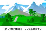 cartoon landscape. rural area.... | Shutterstock . vector #708335950