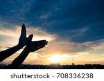 silhouette human hands shape... | Shutterstock . vector #708336238