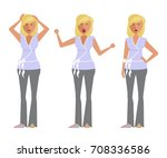 set of woman expression.... | Shutterstock .eps vector #708336586