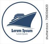 cruise ship logo design and... | Shutterstock .eps vector #708336820