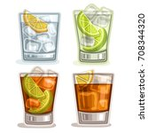 vector set of short drinks  4... | Shutterstock .eps vector #708344320