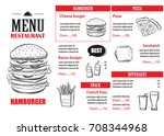 fast food menu design template. ... | Shutterstock .eps vector #708344968