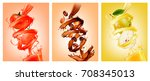 set of fruit in juice splashes... | Shutterstock .eps vector #708345013