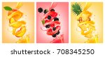 set of labels of of fruit in... | Shutterstock .eps vector #708345250