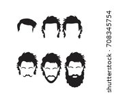 hipster vector set  hair and... | Shutterstock .eps vector #708345754