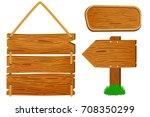 cartoon wooden sign and banners.... | Shutterstock .eps vector #708350299