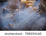 man work on drilling rig. | Shutterstock . vector #708354160