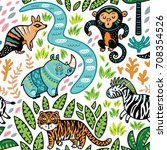 safari animals seamless pattern ... | Shutterstock .eps vector #708354526