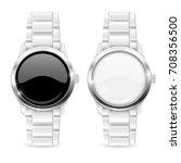 men watch with metal bracelet.... | Shutterstock .eps vector #708356500
