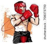 thai boxing man fighting  ... | Shutterstock .eps vector #708373750