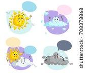 cartoon weather characters set. ...   Shutterstock .eps vector #708378868