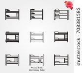bunk bed icons vector   Shutterstock .eps vector #708381583