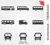bus icons vector | Shutterstock .eps vector #708381610