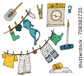 set of clothes. the laundry is... | Shutterstock .eps vector #708382720
