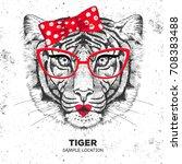 retro hipster animal tiger.... | Shutterstock .eps vector #708383488