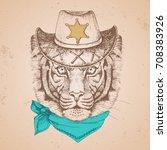 hipster animal tiger. hand... | Shutterstock .eps vector #708383926