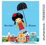 stock vector beautiful girl | Shutterstock .eps vector #708385510