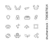 protection and hands icons set... | Shutterstock .eps vector #708387814